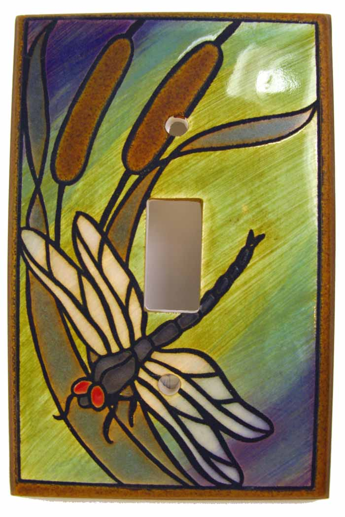 Dragonfly Bulrushes Switch Plate