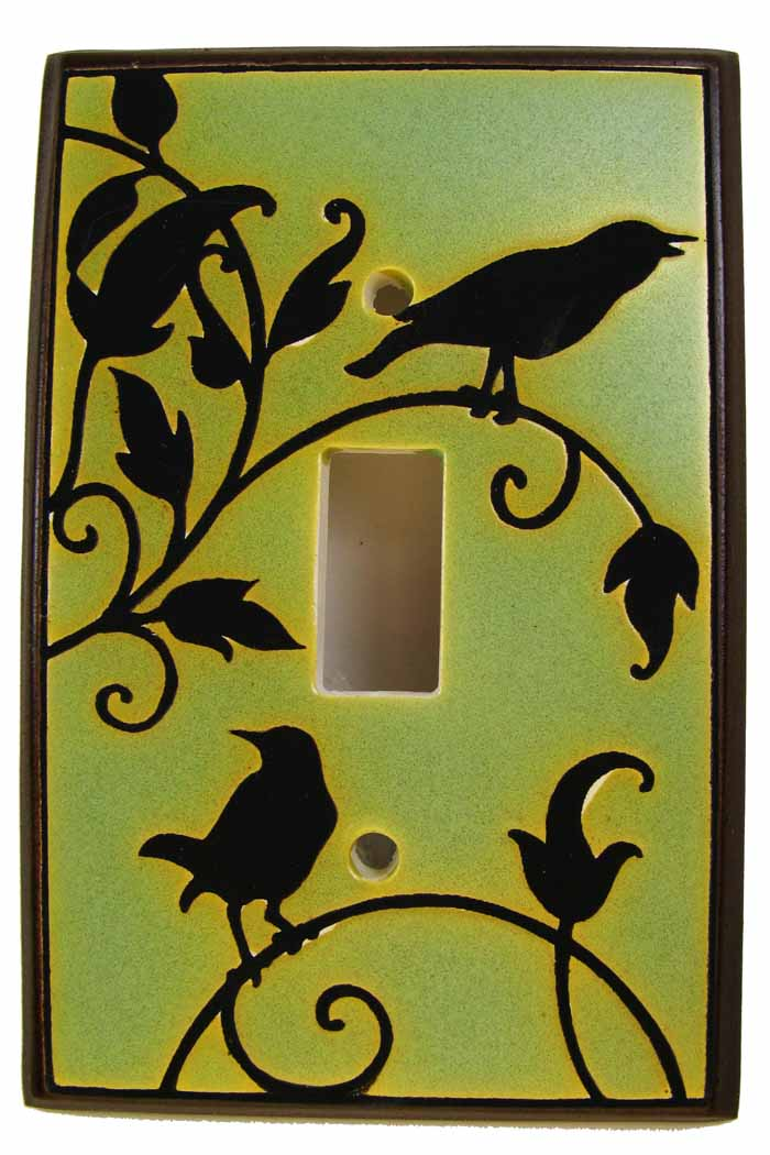 Songbirds in Green Switch Plate