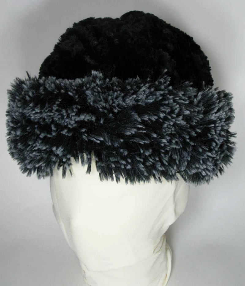 Faux Fur Beanie in Silver-Tipped Black