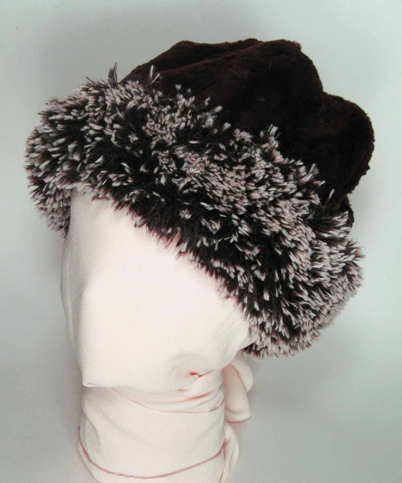 Faux Fur Beanie in Silver Tipped Brown & Black