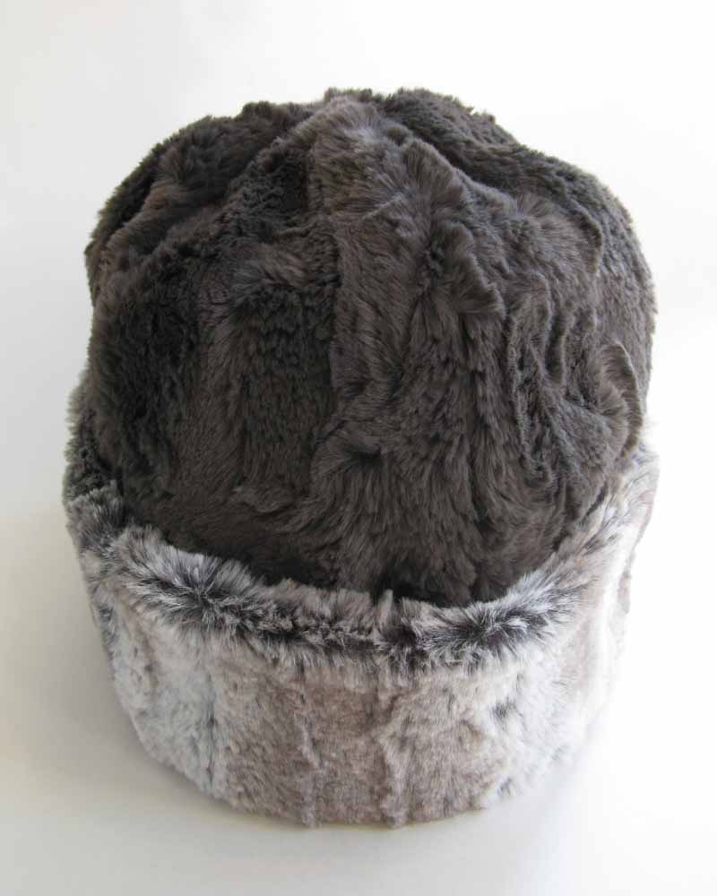Faux Fur Beanie in Alder and Gray