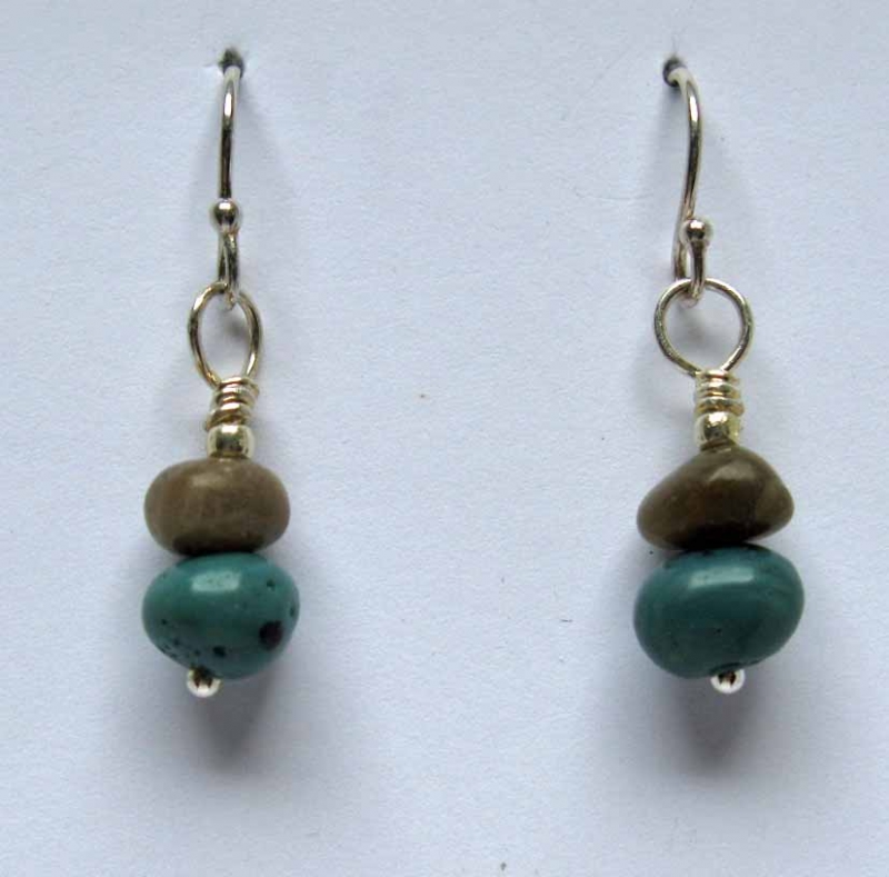 Petoskey and Leland Blue Stone Cairn Earrings