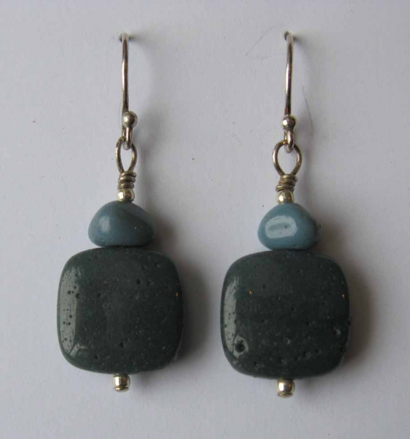 Large Soft Square Leland Blue Stone Earrings with Blue Trim
