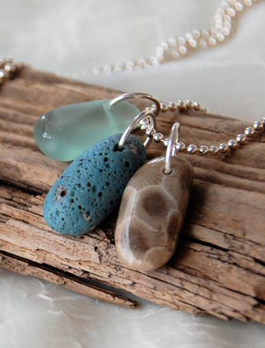 Petoskey stone pendant with beach glass dangles leland blue petoskey and beach glass trio necklace mozeypictures Image collections