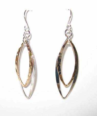 Pointed Oval Mixed Metal Earrings