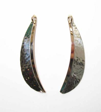 Long Hammered Mixed Metal Earrings