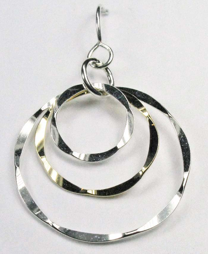 Three Hammered Rings in One Earrings