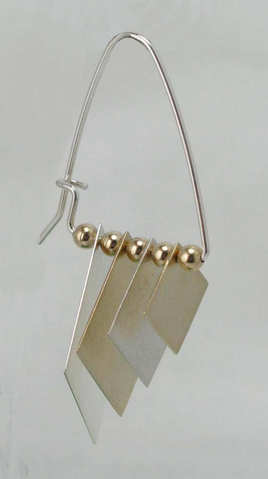 Earrings with Four Swinging Diamonds
