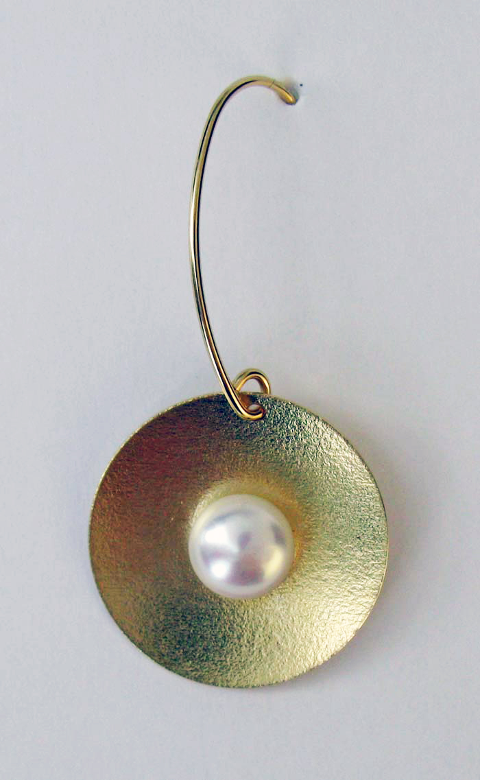 Matte Disc Drop with Pearl Earrings
