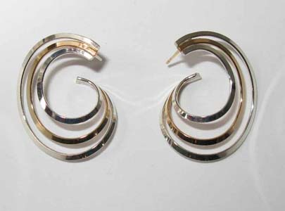 3 Ring Post Earrings in Mixed Metals