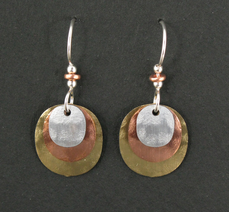 Oval Three-Layer Earrings