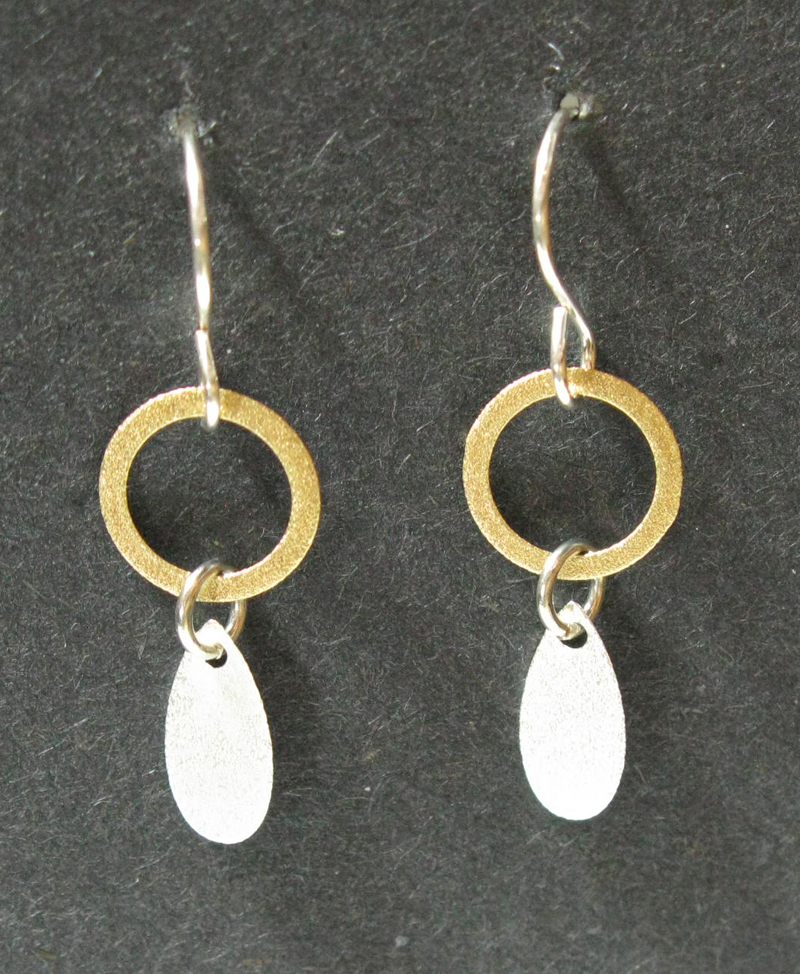 Ring Earrings with Teardrop Dangle