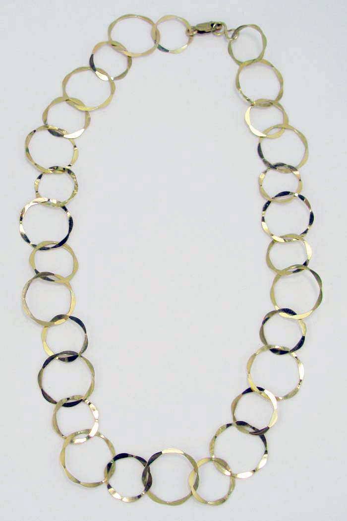 Long Necklace in Flat Hammered Rings