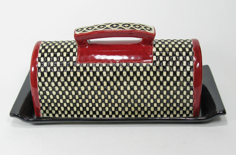 Covered Butter Dish - Black and Red