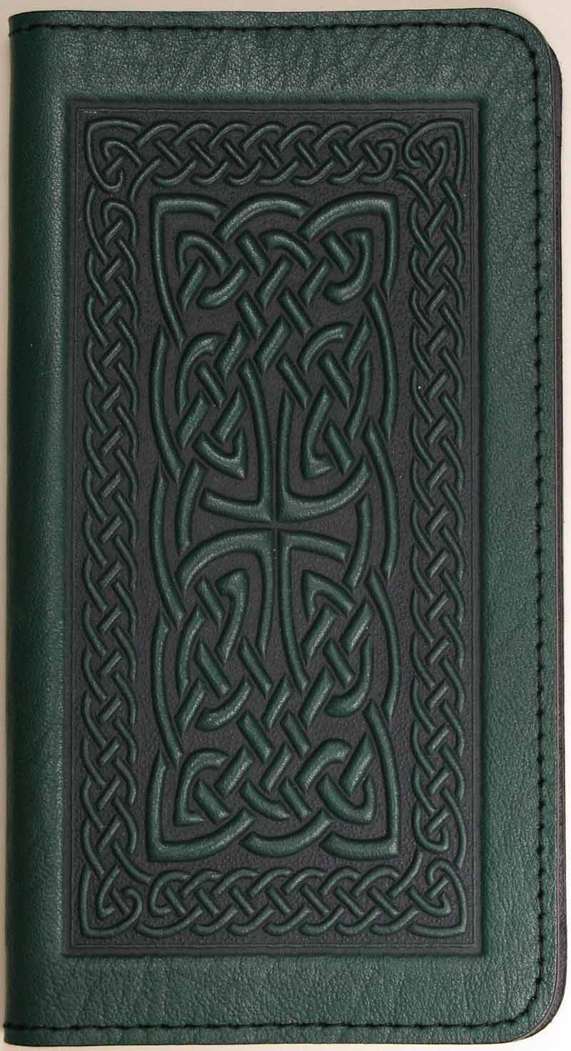 Leather Checkbook Cover - Celtic Braid in Green