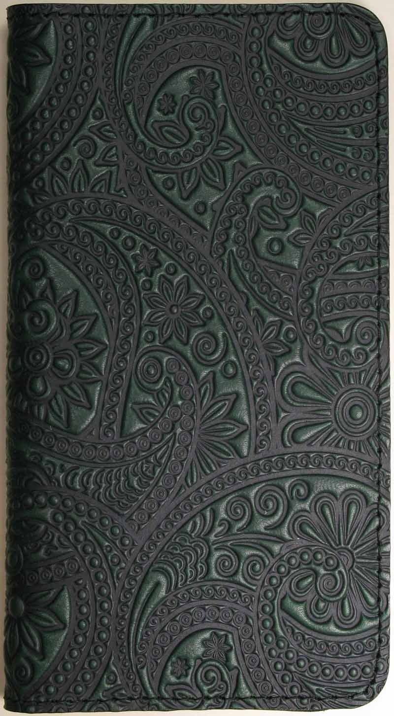 Leather Checkbook Cover - Paisley in Green