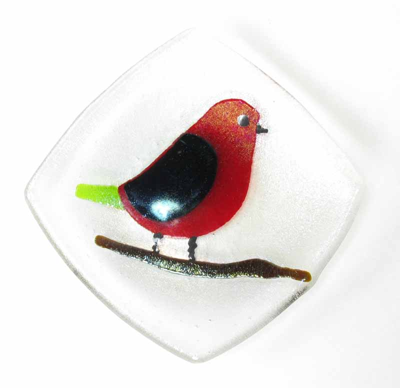 Glass Dish - Bird in Red