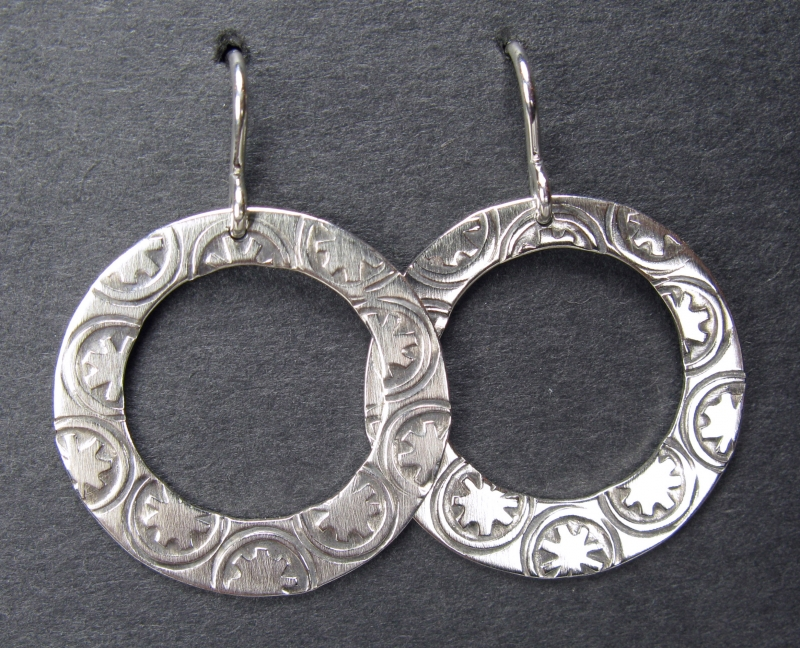 Stamped Silver Circle Earrings