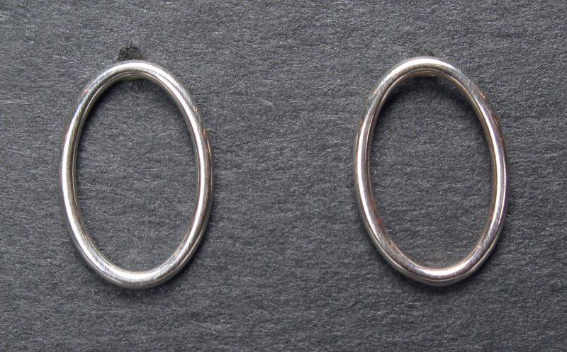 Small Silver Oval Post Earring