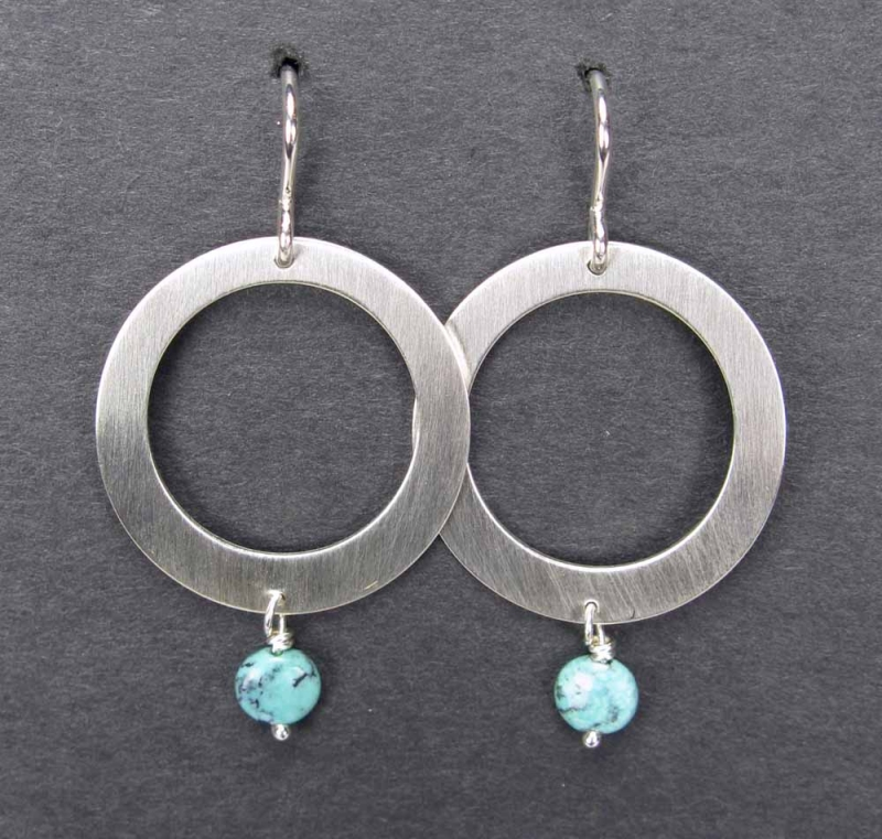 Silver Oval Earrings with Turquoise Drop