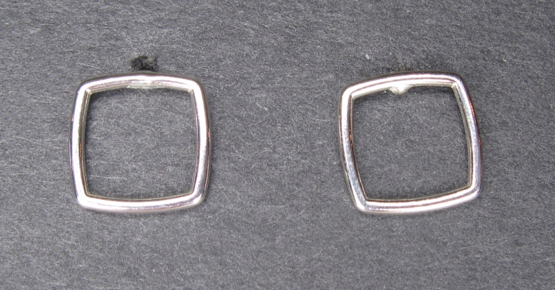 Thin Silver Square Post Earrings