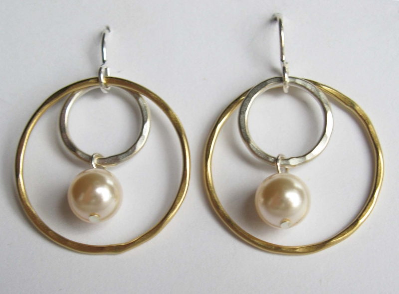 Double Ring and Pearl Earrings
