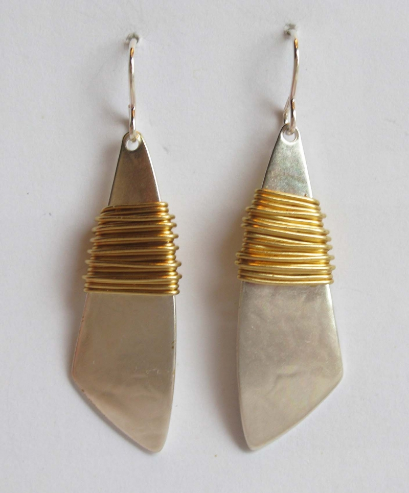 Long tapered with brass wire wrapped earrings