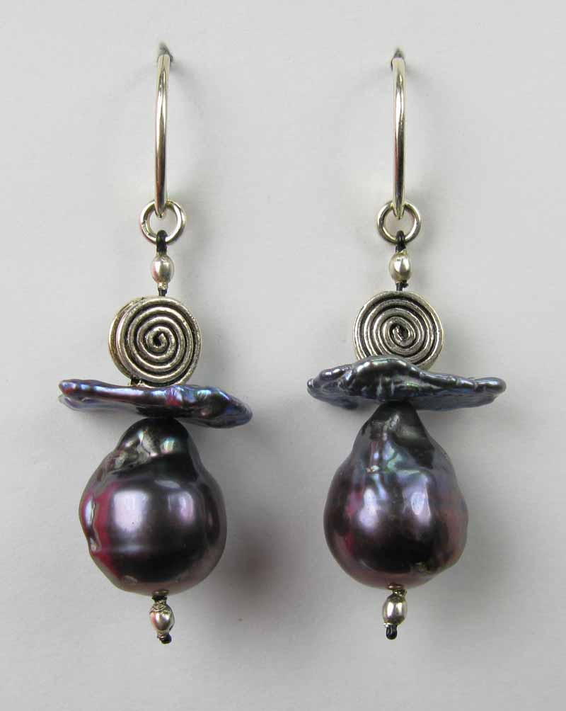 Tahitian Peacock  Pearl Earrings