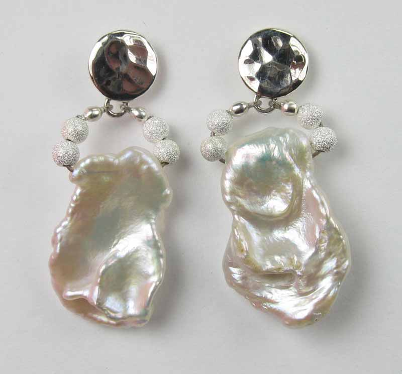Pearl Earrings - Extra Large White Keshi