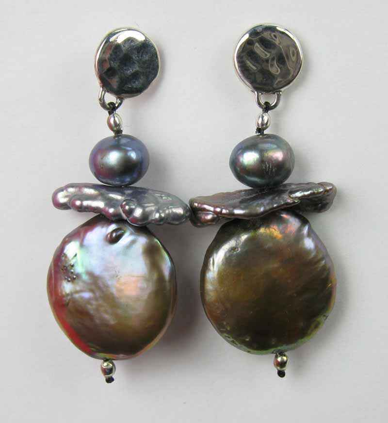 Stacked Coin Pearl Earrings