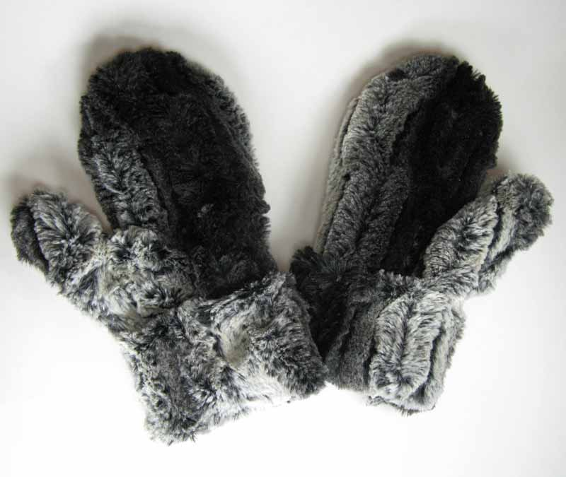 Mittens in Chinchilla Black Faux Fur