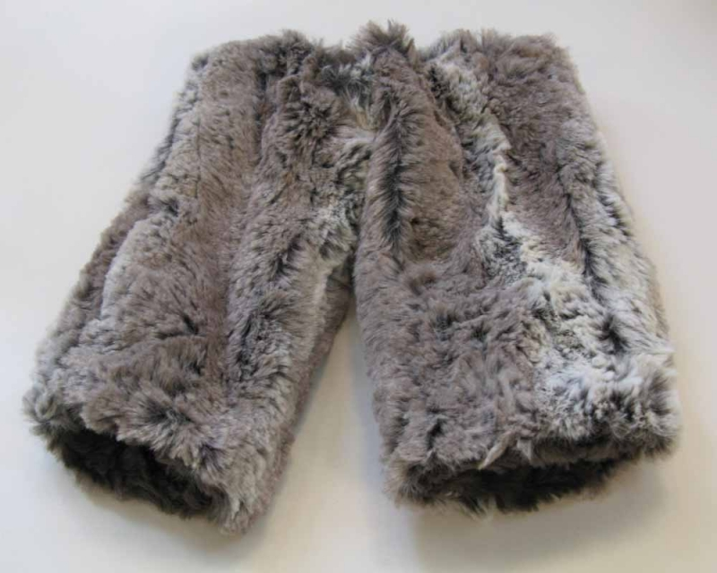Faux Fur Fingerless Gloves in Alder/Gray