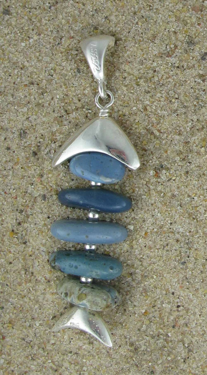 fish pendant - all Leland blue stones