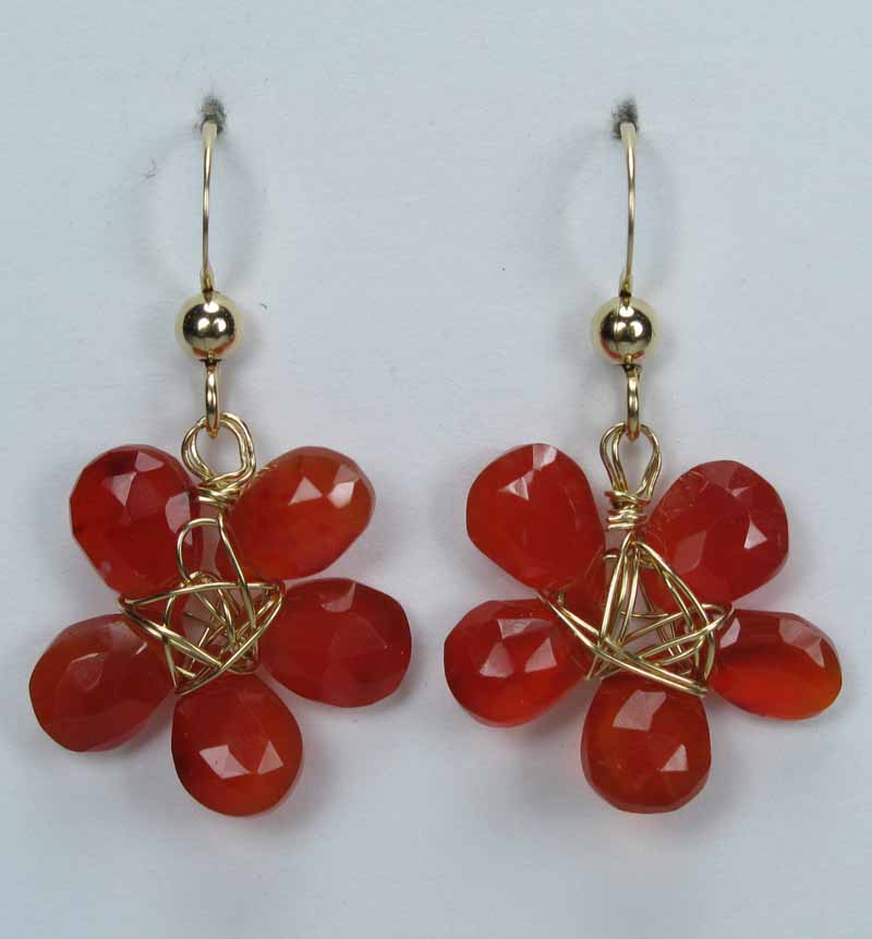 Gold Gemstone Flower Drop Earrings - Carnelian