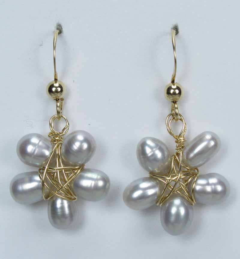 Gold Gemstone Flower Drop Earrings - Grey Pearls