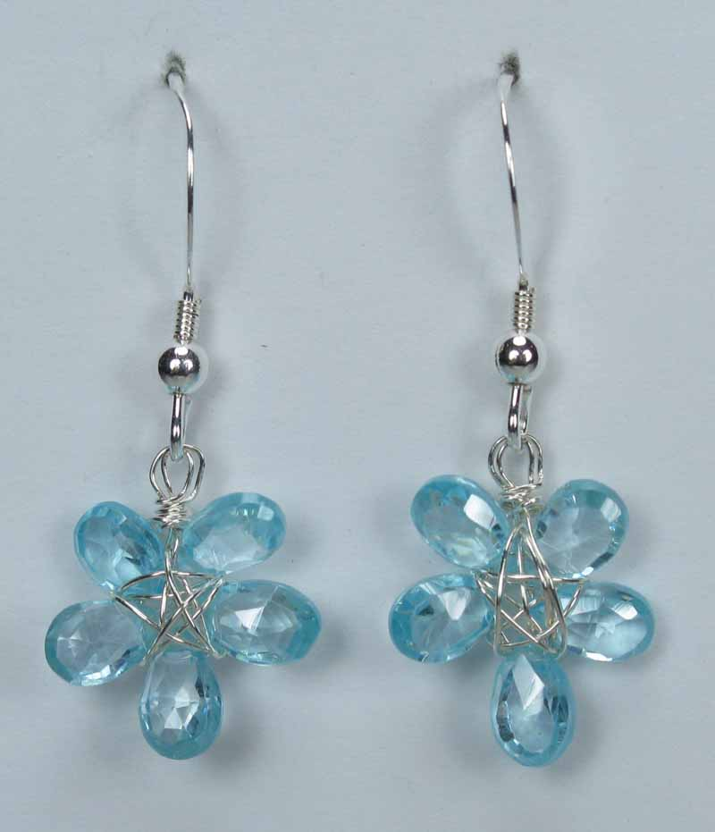 Silver Gemstone Flower Drop Earrings - Blue Topaz