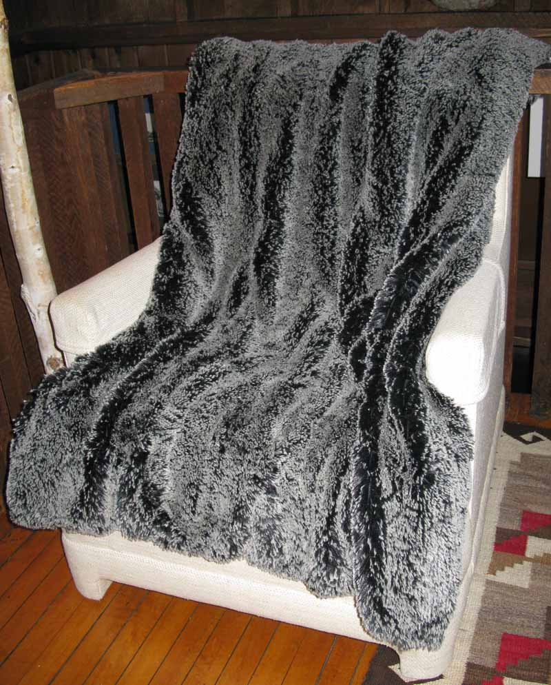 Blanket Throw in Silver Tipped Black Faux Fur