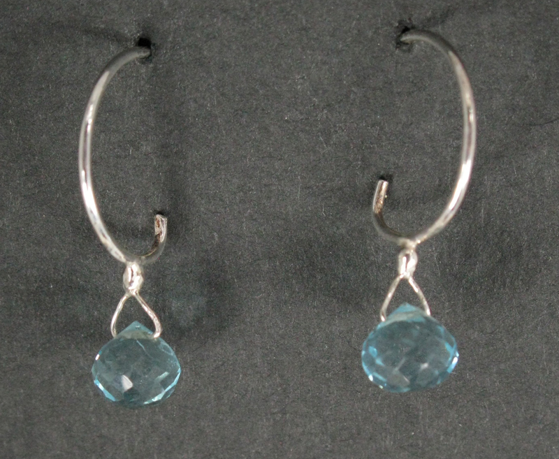 Briolette Drop Earrings on Silver Loop