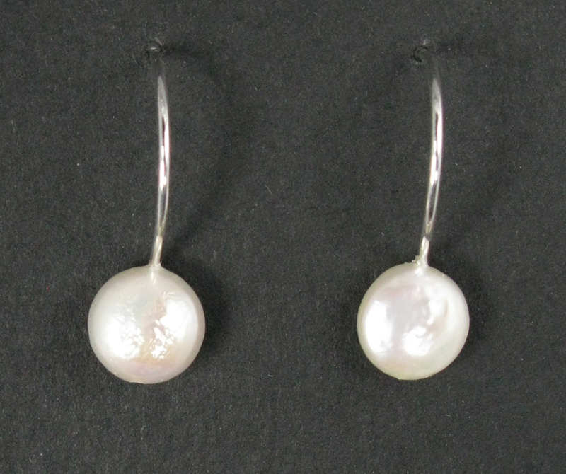 Simple Small Coin Pearl Earrings