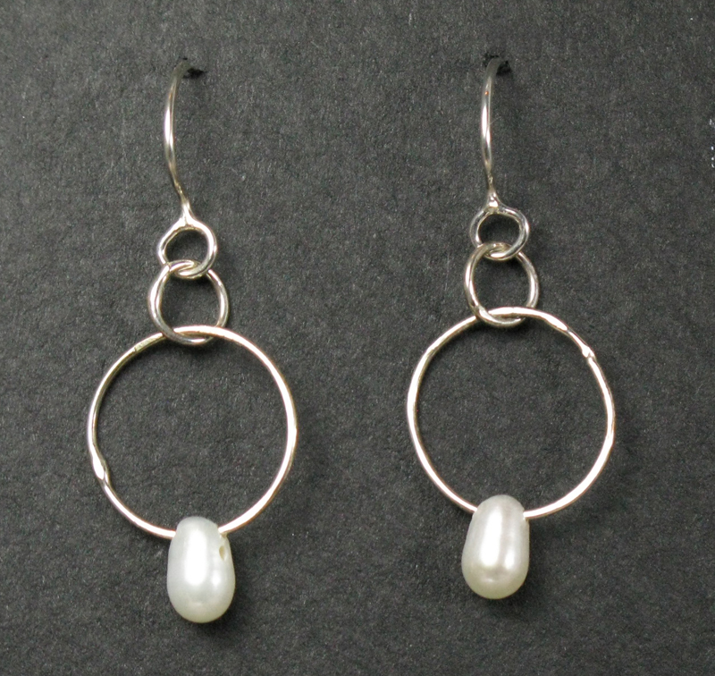 Small Gemstone on Silver Ring Earrings
