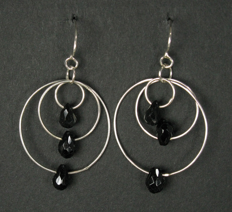 Silver Triple Ring and Gemstone Earrings