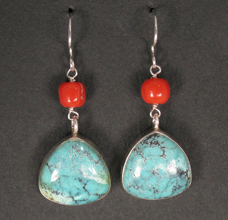 Silver Large Cased Stone Drop Earrings