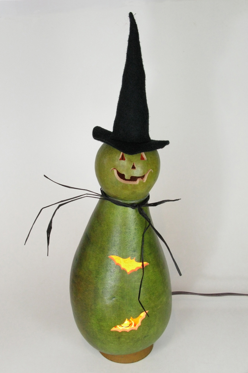 Ursula - Green Witch Illuminated Gourd