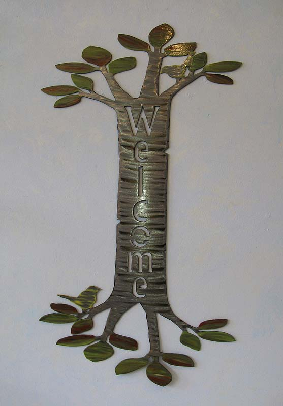 Welcome Tree Sign in Steel