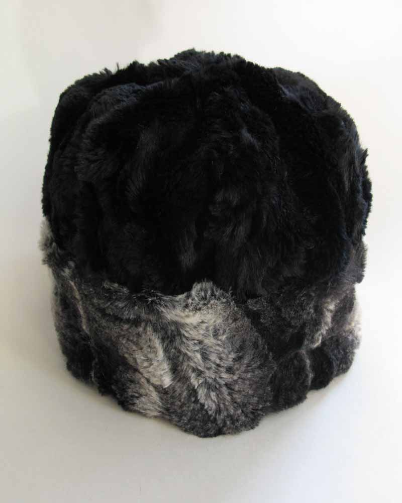 Faux Fur Beanie in Honey Badger and Black