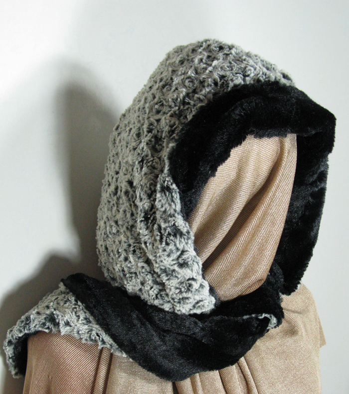 Faux Fur Hoody Scarf in Black Rosebud and Black