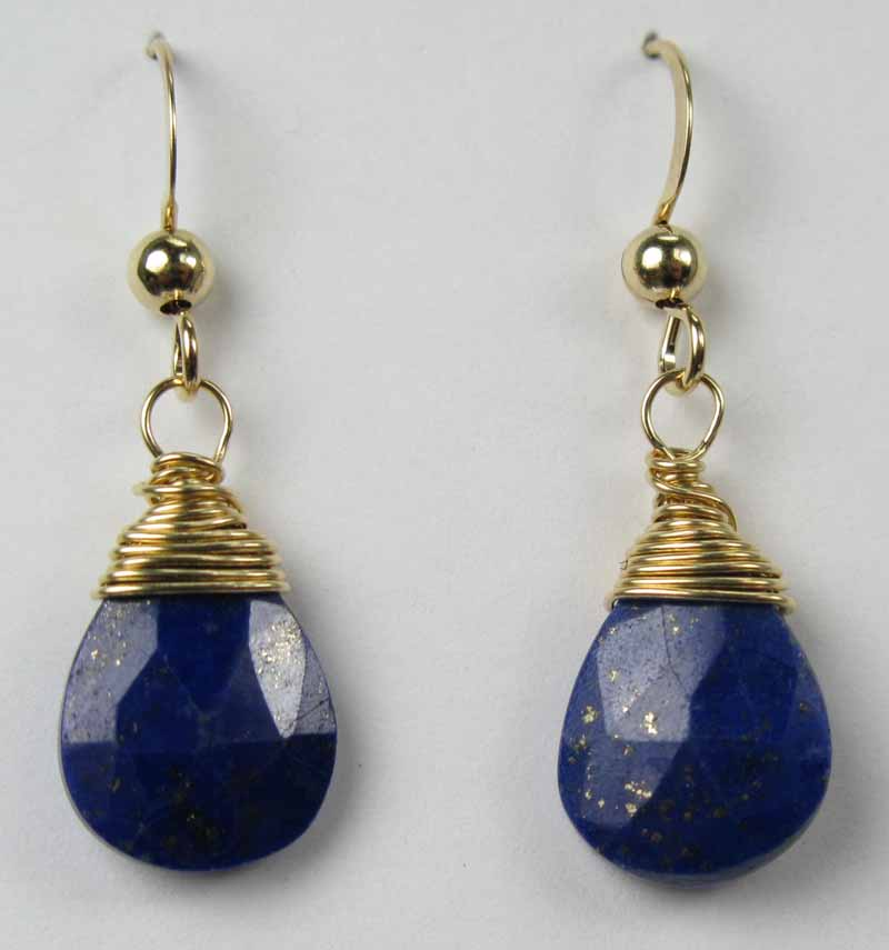 Gold Gemstone Drop Earrings - Lapis