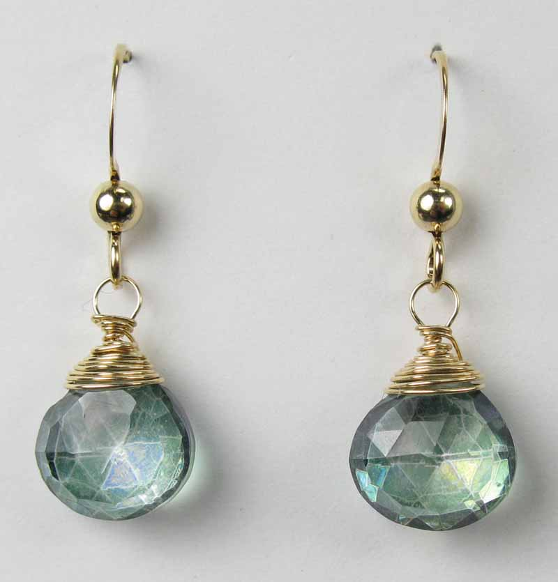 Gold Gemstone Drop Earrings - Green Mystic Quartz
