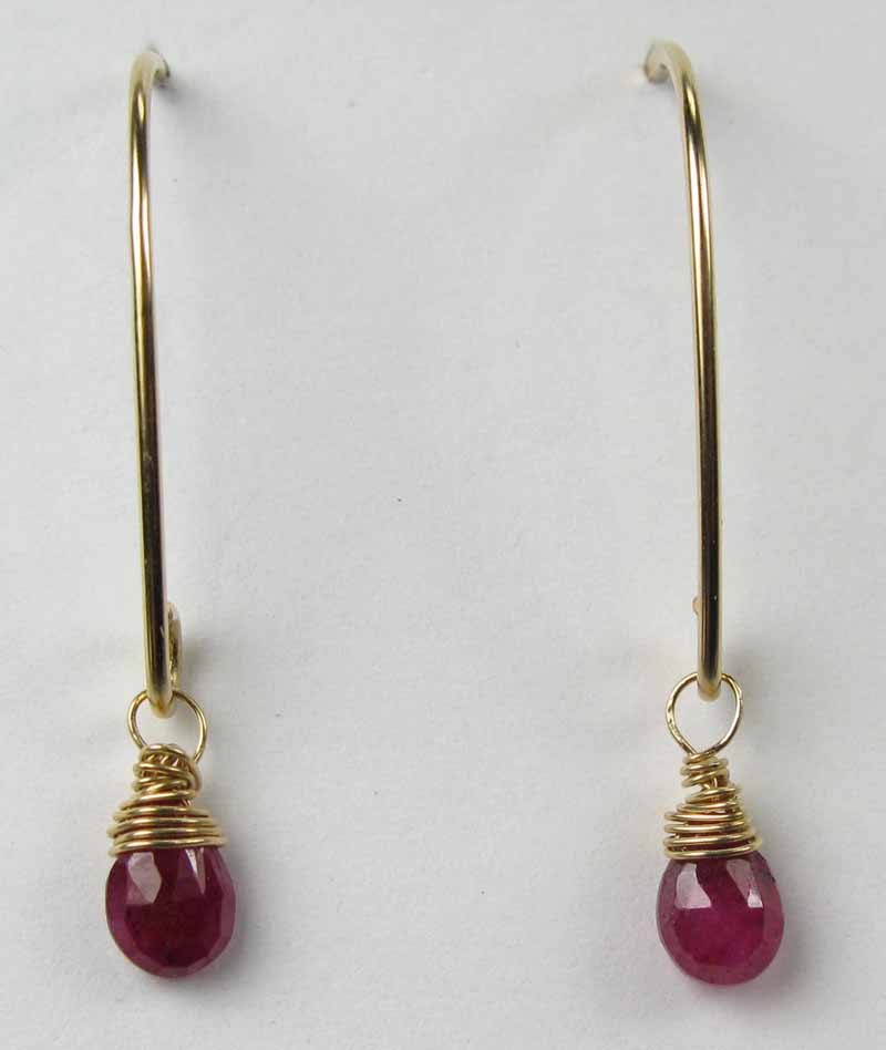 Gold Gemstone Oval Earrings - Ruby