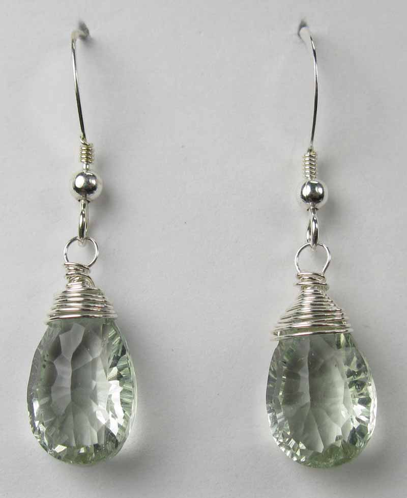 Silver Wire-Wrapped Earrings - Green Amethyst